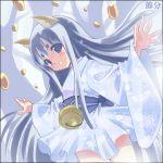 beans bell blue_eyes blue_hair fox_ears japanese_clothes kazuki_kiyoto kimono long_hair mamemaki original setsubun short_kimono solo