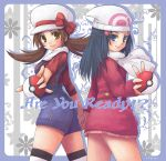 alternate_costume back-to-back back_to_back beanie blue_eyes blue_hair blush brown_eyes brown_hair buttons cabbie_hat coat coat_dress english floral_print hair_ornament hairclip hand_holding hat hat_ribbon hikari_(pokemon) hikari_(pokemon)_(remake) holding holding_hands holding_poke_ball jacket kotone_(pokemon) long_hair miniskirt multiple_girls n_funiya overalls poke_ball pokemon pokemon_(game) pokemon_dppt pokemon_gsc pokemon_heartgold_and_soulsilver pose red_ribbon ribbon scarf short_twintails skirt smile thigh-highs thighhighs thighs twintails winter_clothes