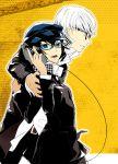 glasses gun handgun mhr narukami_yuu persona persona_4 reverse_trap revolver seta_souji shirogane_naoto trigger_discipline weapon white_hair