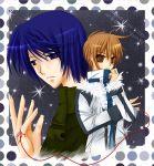blue_hair brown_hair couple hisuri_rii ikizaku jacket polkadot red_string stars yaoi