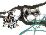 brown_eyes brown_hair discharge_cycle hair_bow horn_ribbon horns ibuki_suika long_hair oni ribbon touhou