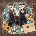 axis_powers_hetalia blue_eyes bread castle chocolate cookie food grey_hair hat iceland_(hetalia) male military military_uniform mouth_hold multiple_boys norway_(hetalia) peaked_cap purple_eyes sweets uniform violet_eyes yukino_(pixiv)