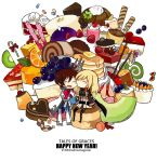 asbel_lhant chibi dessert food fruit melon multiple_boys new_year pancake richard_(tales_of_graces) starshadowmagician tales_of_(series) tales_of_graces title_drop