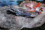 airplane building choujikuu_yousai_macross city daedalus fan_racer ichijo_hikaru ichijou_hikaru island jet macross mecha ocean official_art realistic scan sdf-1 ship space_craft spaceship the_super_dimension_fortress_macross vf-1