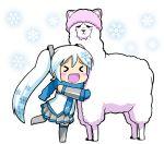 alpaca alternate_color blue_hair chibi hatsune_miku megurine_luka_(toeto) megurine_luka_(toeto)_(cosplay) nagian necktie patterned scarf skirt snowflakes thigh-highs thighhighs toeto_(vocaloid) twintails vocaloid yuki_miku