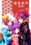 3girls asa_no_ha_(pattern) cheria_barnes double_bun floral_print fur gradient_hair hair_ornament japanese_clothes kimono lace matunoha miyu_(matsunohara) multicolored_hair multiple_girls nengajou new_year pascal pink_hair purple_eyes purple_hair red_background red_eyes red_hair redhead ribbon side_ponytail sophie_(tales_of_graces) tales_of_(series) tales_of_graces two-tone_hair v violet_eyes white_hair yellow_eyes