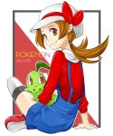 1girl brown_eyes brown_hair cabbie_hat chikorita crossed_legs hat hat_ribbon indian_style kotone_(pokemon) midori_maccha overalls pokemon pokemon_(creature) pokemon_(game) pokemon_gsc pokemon_heartgold_and_soulsilver red_ribbon ribbon short_twintails sitting smile thighhighs twintails