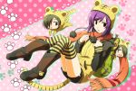 allelujah_haptism animal_costume animal_ears backpack bag boots cat_hood chibi costume gundam gundam_00 hair_over_one_eye hallelujah_haptism hood migu paw_print purple_hair red_eyes scarf striped striped_legwear striped_thighhighs tail thigh-highs thighhighs tieria_erde tiger_costume tiger_ears tiger_print tiger_tail yellow_legwear