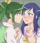 2girls blue_eyes blue_hair blush bust dokidoki!_precure embarrassed eye_contact green_eyes green_hair hishikawa_rikka incipient_kiss long_hair looking_at_another midorikawa_nao multiple_girls negom ponytail precure school_uniform smile_precure! wavy_mouth wrist_grab yuri
