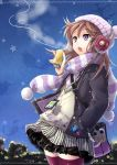 bad_id breath brown_hair can earmuffs hand_in_pocket hat highres jewelry necklace open_mouth pochi-goya pochi_(pochi-goya) purple_eyes scarf skirt solo star striped striped_scarf thigh-highs thighhighs train violet_eyes winter_clothes zettai_ryouiki