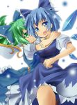 blue_eyes blue_hair bow cirno daiyousei dress fairy_wings green_eyes green_hair hair_bow mikan_(bananoha) multiple_girls ponytail touhou wings