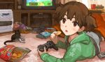 :o brown_eyes brown_hair cat controller game_controller k-on! on_stomach playstation playstation_3 potato_chips short_hair short_twintails solo suzuki_jun tomohi twintails