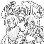 3girls ^_^ alcohol blush bow bridal_gauntlets closed_eyes drunk eyes_closed frills fujiwara_no_mokou futa4192 glasses hair_bow hat hug hug_from_behind kamishirasawa_keine long_hair monochrome morichika_rinnosuke multiple_girls open_mouth sakazuki sake short_hair sleeves tokiko_(touhou) touhou