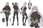 adjusting_hair boots breasts character_sheet gloves grey_hair knee_boots large_breasts long_hair military military_uniform official_art pantyhose ponytail rapier red_eyes selvaria_bles senjou_no_valkyria silver_hair solo sword uniform weapon