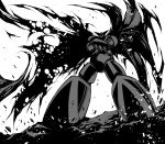 crossed_arms epic getter-1 getter_robo manly mecha monochrome solo super_robot taguchi_shigeo torn_cape torn_clothes