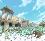 cloud flower grass ibui_matsumoto jirachi landscape nature ninetales no_humans poke_ball pokemon pokemon_(game) ruins sky stone sword weapon