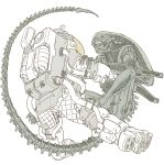 alien_(movie) astronaut kusagami_style monochrome simple_background sketch spacesuit spot_color white_background xenomorph