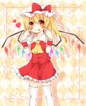 ascot blonde_hair flandre_scarlet hat highres nail_polish red_eyes silver_hair skirt skirt_set solo the_embodiment_of_scarlet_devil tongue tongue_out touhou white_legwear wings wrist_cuffs yuria_(kittyluv)
