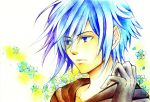 absurdres blue_eyes blue_hair cloak eyes_visible_through_hair flower gloves hair_over_one_eye highres kingdom_hearts kurotennsi male solo zexion