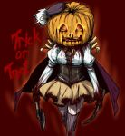 4shi blood drill_hair english halloween hat jack-o'-lantern jack-o'-lantern mahou_shoujo_madoka_magica mami_mogu_mogu pumpkin red_background skirt solo thigh-highs thighhighs tomoe_mami trick_or_treat twin_drills weapon zettai_ryouiki