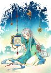 bow crescent_moon cyclamate east_asian_architecture gem hair_bow hair_ornament horizon kirishima_ten light_smile long_hair long_sleeves looking_at_viewer moon multicolored_hair original red_eyes silhouette silver_hair sitting sky sleeves_past_wrists smile solo star star_(sky) starry_sky very_long_hair wariza