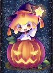 cape clothed_pokemon halloween hat jack-o'-lantern jack-o'-lantern jirachi minato0618 no_humans open_mouth pokemon pumpkin smile solo star third_eye wand witch_hat yellow_eyes