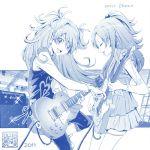 2girls :d guitar half_updo houjou_hibiki instrument kamikita_futago minamino_kanade monochrome multiple_girls official_art open_mouth precure smile suite_precure two_side_up