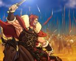 arabagi armor army beard cape desert facial_hair fate/stay_night fate/zero fate_(series) flag helmet helmets horse ionioi_hetairoi male red_eyes red_hair redhead rider_(fate/zero) sand shield shields short_hair solo sword weapon