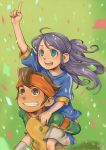 1girl blue_eyes brown_eyes brown_hair confetti endou_mamoru goalkeeper inazuma_eleven inazuma_eleven_(series) inazuma_japan kudou_fuyuka moriobi piggyback purple_hair short_hair soccer_uniform
