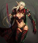 blank_eyes blood_elf breasts cape cleavage elf gauntlets ionen navel pauldron pauldrons pointy_ears solo sword thigh-highs thighhighs warcraft weapon white_hair world_of_warcraft