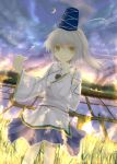 bunchou_(bunchou3103) crescent grey_hair hat highres japanese_clothes mononobe_no_futo rice_paddy skirt sky smile solo star_(sky) starry_sky tate_eboshi touhou yellow_eyes