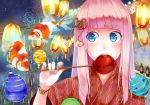 alternate_hairstyle balloon bangs blue_eyes blunt_bangs candy_apple eating face fish floating goldfish japanese_clothes kimono long_hair megurine_luka nail_polish pink_hair retsuna solo takoluka vocaloid yukata