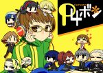 6+girls amagi_yukiko brown_eyes brown_hair chan_co chibi chin_rest doujima_nanako glasses hanamura_yousuke headphones igor kujikawa_rise kuma_(persona_4) margaret miniboy minigirl multiple_boys multiple_girls nakamura_aika narukami_yuu pantyhose persona persona_4 satonaka_chie shirogane_naoto short_hair sitting sitting_on_head sitting_on_person tatsumi_kanji track_jacket yellow-framed_glasses