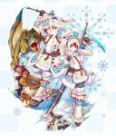 2girls 4boys baku_(bakunooekaki) bone_(armor) character_request dinosaur furogi_(armor) monster_hunter monster_hunter_portable_3rd multiple_boys multiple_girls nargacuga_(armor) snow sword tigrex urukususu urukususu_(armor) weapon yukumo_(armor)