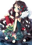 angel_wings blue_eyes bracelet brown_hair choker dress flower from_behind green_dress holly jewelry light_smile long_hair looking_back nail_polish necklace original red_legwear ring sitting solo sparkle tearfish thigh-highs thighhighs very_long_hair wings