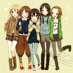 black_eyes black_hair blonde_hair blue_eyes boots brown_eyes brown_hair hirasawa_yui jacket k-on! k-on!_movie kotobuki_tsumugi long_hair mizutamako nakano_azusa pantyhose short_hair shorts tainaka_ritsu twintails
