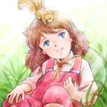 ai_shoujo_pollyanna_monogatari blue_eyes braid brown_hair child freckles looking_up lowres on_head pollyanna_whittier sakai_yume solo squirrel twin_braids world_masterpiece_theater