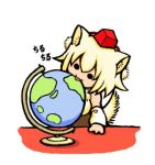 ad animal_ears blonde_hair detached_sleeves globe hat inubashiri_momiji licking parody solo tail terajin tokin_hat touhou wolf_ears wolf_tail