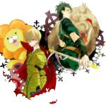 armor bad_id blonde_hair boar cape cross earrings fate/stay_night fate/zero fate_(series) gae_dearg gilgamesh green_eyes jewelry lancer_(fate/zero) lion male multiple_boys polearm red_eyes seki_pisuke short_hair spear weapon yellow_eyes
