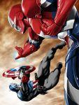 2boys battle captain_america gun iron_patriot marvel multiple_boys noq power_armor shield weapon