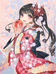 apple bf._(sogogiching) bird bird_on_shoulder black_hair bow drill_hair food fruit hair_ornament holding holding_apple holding_fruit japanese_clothes kimono large_bow long_hair open_mouth original ponytail red_eyes side_ponytail smile solo