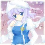 blue_eyes breasts hat highres kujou_mikuru lavender_hair letty_whiterock scarf short_hair smile snow solo touhou