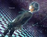 720yen arisato_minato blue_eye blue_eyes blue_hair checkered checkered_floor male persona persona_3 school_uniform solo