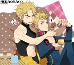 2boys blonde_hair blue_eyes cake candle dio_brando father_and_son food giorno_giovanna jojo_no_kimyou_na_bouken ladybug laphy multiple_boys musical_note pudding spoken_musical_note