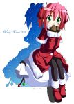 2011 christmas green_eyes highres kobayakawa_yutaka lucky_star mittens pantyhose pink_hair rindou_(awoshakushi) sack santa_costume short_hair silhouette solo twintails