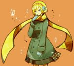 aegis android bad_id blonde_hair blue_eyes butterfly coat contemporary earmuffs gloves mamekakao_(higanbana) persona persona_3 scarf short_hair solo