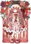 apple black_ribbon blue_ribbon book crescent dress flower food frills fruit hair_ribbon hat hat_ribbon holding holding_apple holding_book holding_fruit jaku_sono long_hair patchouli_knowledge purple_eyes purple_hair red_ribbon ribbon rose shoes smile solo strawberry striped touhou violet_eyes white_ribbon