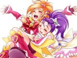 cure_bloom cure_egret futari_wa_precure_splash_star hyuuga_saki magical_girl mishou_mai multiple_girls nekozawa_yukari precure shorts_under_skirt white_background