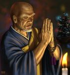 bald beads black_eyes buddhism candle christmas christmas_tree facial_hair fire flame hands_together kesa male matataku monk old_man original prayer_beads praying realistic signature solo