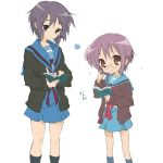 brown_eyes cardigan chihara_minori clerk_nagato core_(mayomayo) cosplay crossover glasses grey_hair lucky_star nagato_yuki nagato_yuki_(cosplay) school_uniform seiyuu_connection serafuku short_hair suzumiya_haruhi_no_yuuutsu